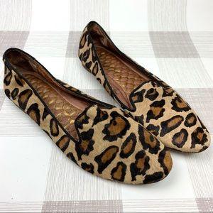 Sam Edelman Leopard Print Fur Loafer Flats Sz 8